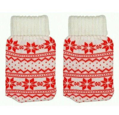 2x Knitted Handwarmer Re-usable Tiny Toasties White/Red Norwegian Pattern