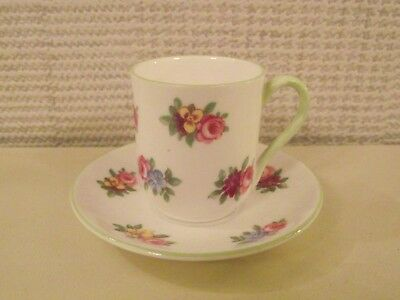 VINTAGE SHELLEY MINIATURE CUP & SAUCER - ROSE BOUQUETS - PATTERN No.13868