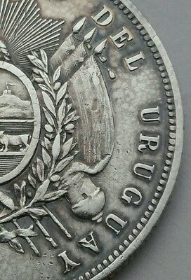 Uruguay 1 Peso 1877A. KM#17. .917 Silver Crown coin. One year issue.