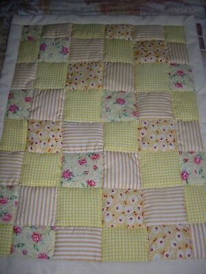 Pram / Crib Quilt - Yellow Patchwork..