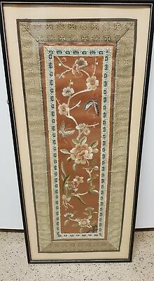 Antique Chinese framed silk work : Insects amongst Flowers