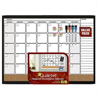 Quartet Dry Erase Cork Calendar Board Combo Value Pack Magnetic Black Frame (442