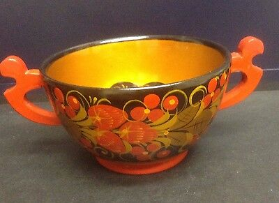 "Russian Khokhloma Hand Painted Wood Laquered Bowl Vintage STYLE 9""x5 1/2""x3 1/2"""