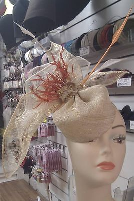 Ladies Fascinator Hat Sinamay/ Feather Coque/ butterfly/ Races / Weddings/ Ascot