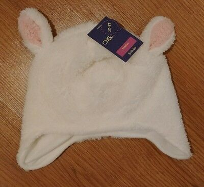 NEW Cherokee Toddler Faux Wool Fur White Lamb Winter Hat Size 2T to 5T