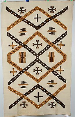 Early Navajo rug, transitional blanket Native pictorial textile, weaving 1890's