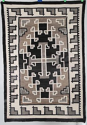 Early Navajo rug, blanket Native American textile, weaving Two Grey Hills 44X66