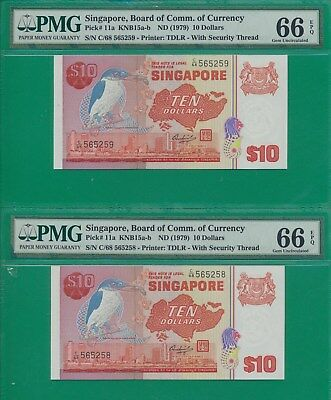 Singapore, Pick # 11a 10 Dollars Banknote PMG GEM  66 EPQ  SETS of 2