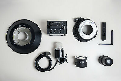 Profoto Acute B 600 pack, head, Ring flash and Soft light refector full kit