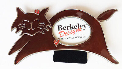 Brown CAT small Photo Frame, enamel, NEW