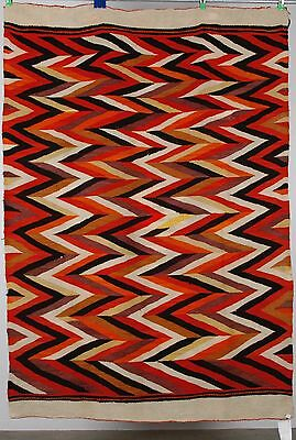 Early Navajo rug, transitional blanket Native EyeDazzler textile, weaving C 1885