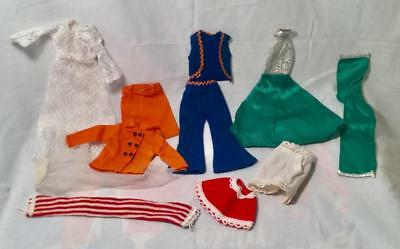 5 Barbie & Shillman  Doll Outfits Labled Hong Kong Evening Dress Pants 1970's