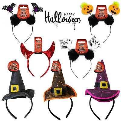 Girls Halloween Kids Headband Cat,Spider Hair band Ghost Head Boppers One Size