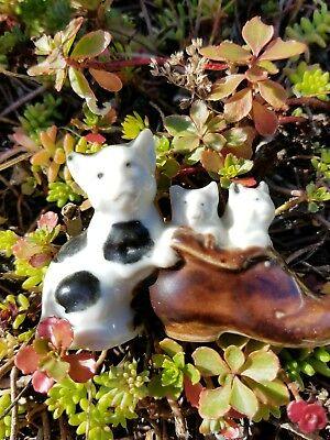 Vintage Bone China Three Boston Terrier Figurine w Label Made in Japan