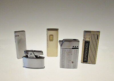 A collection of 5 vintage lighters including a mini Ronson