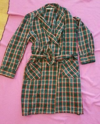 Vintage 60s 70s Montgomery Ward Men's Long Sleeved Belted Plaid robe lg 42-44