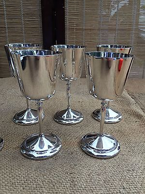 Set of 6 Vintage English Perfection Silver Plated Wine Goblets