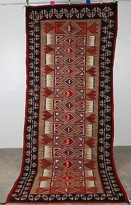 Early Navajo rug blanket Native textile weaving Red Mesa Huge runner Feathers