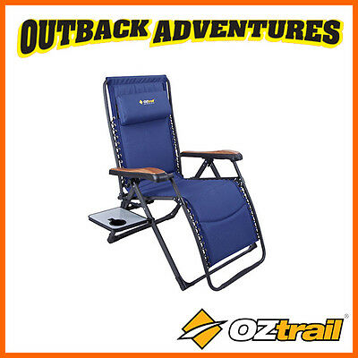 OZTRAIL HAYMAN SUN LOUNGE w/ SIDE TABLE RECLINING CAMP CHAIR CAMPING 160 RATING