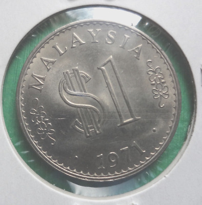 MALAYSIA Coin $1 Uncirculated 1971 First $1 Dollar Coin / Scarce!