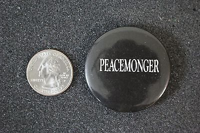 Peacemonger Protest Black Pin Pinback Button #16343