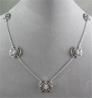 Antique Large Filigree Star Disign 14Kt White Gold Diamond Necklace