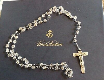 "CHRIS Sterling Signed Rosary 25.5"" Silver Crystal Faceted ROME Heirloom Qualty"