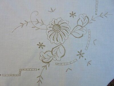 Large Vintage Cotton Embroidered Round Table Cloth
