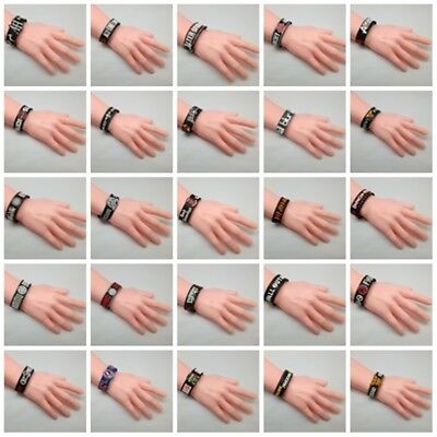 Wristband Rubber Silicone Bracelet Rock Cuff Band Music Black Heavy Metal Punk