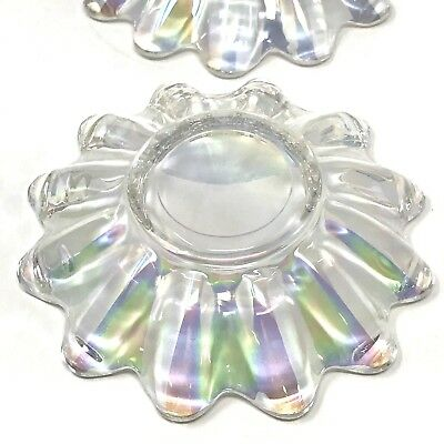 Vintage Atomic Clear Iridescent Glass Carnival Candy Dish Bowl
