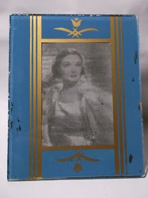 "Antique Vintage ART DECO Reverse Painted Glass 4"" x 5"" Easel Back Picture Frame"