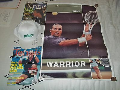 Pat Rafter Autographed Prince Cap And Poster Plus Tennis Magazines