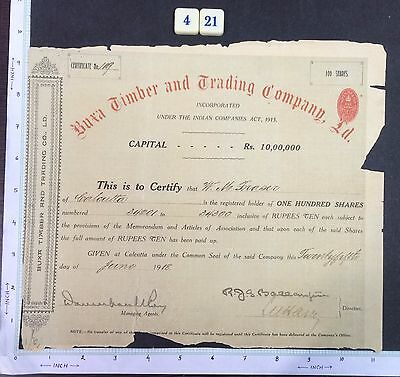 India 1918 SHARE CERTIFICATE of Buxa Timber Trading Co. #421