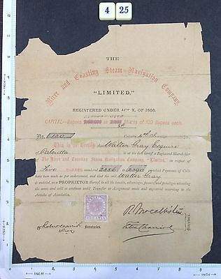 India 1870s SHARE CERTIFICATE of River Casting Steam Navigation Co. #425