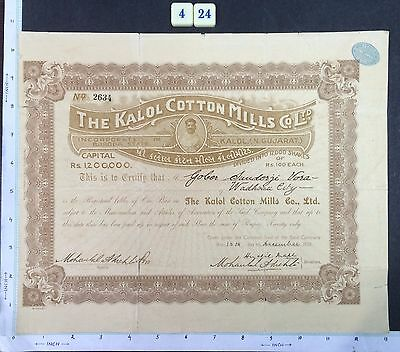 India 1920 SHARE CERTIFICATE of Kalol Cotton Mills #424