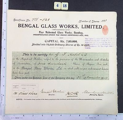 India 1919 SHARE CERTIFICATE of Bengal Glass Works #418