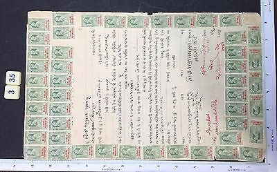 India 1922 Share Transfer Doc. King George V 90 Stamps Affixed, Gujarati #335