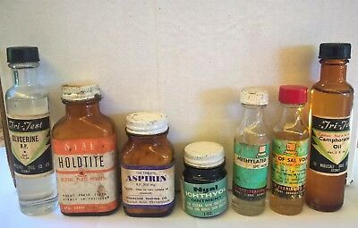 Vintage Medicine Bottles / Contents - Medical, Pharmaceutical, Advertising