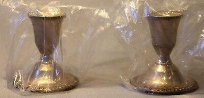 Vintage Pair Of Mayflower Sterling Silver Weighted Candle Stick Holders + Unused