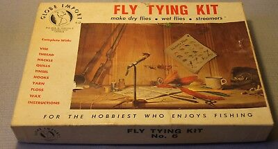 Vintage Glove Imports Fly Tying Kit Fishing Lures Feathers Extras In Box +