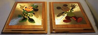 Pair Of Vintage Walt Disney World Wooden Mickey Mouse & Minnie Hanging Pictures