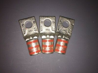 Lot of 3 Thomas & Betts 150N Orange Die 50 Wire Terminal Lug Ring Connector