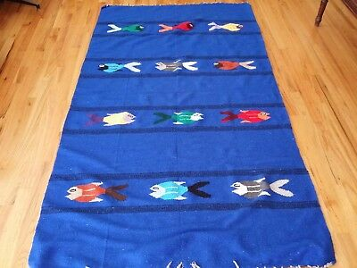 Hand Woven Vintage Mexican Blanket Mat Fish 45 x 80