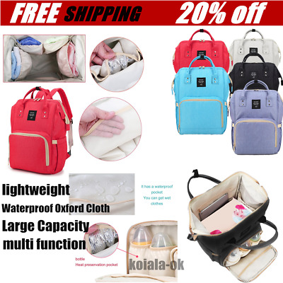 Waterproof Mummy Nappy Diaper Bag Large Capacity Travel Backpack have Handle FG