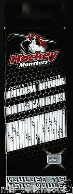 96'' Hockey Monsters Laces -   Molded Tip White 244cm