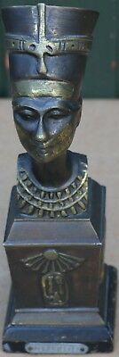 Nice Looking Very Detailed Metal Nefertiti Egyptian Type Bust On Wooden Base