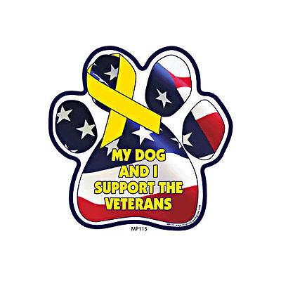 My Dog And I Support The Veterans Dog Military Paw Car Magnet