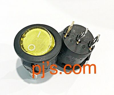 AC 6A/250V Yellow Light ON-OFF SPST Round  Full Led Rocker Switch