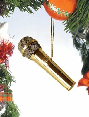 Gold Microphone Musical Instrument Ornament 4 inches by Broadway Gifts