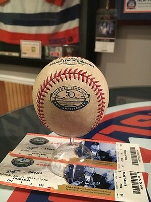2012 Dodgers Game Used Rawlings 50th Anniversary Baseball & Tickets